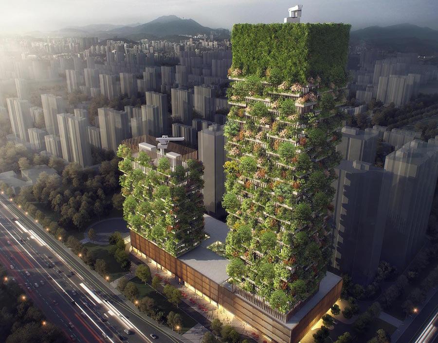 El primer bosque vertical de Asia estará cubierto por más de 3000 plantas